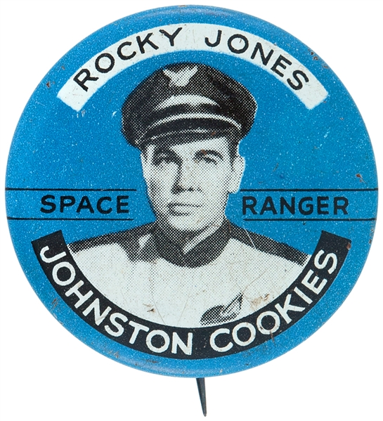 ROCKY JONES – SPACE RANGER - 1954 TV SHOW JOHNSTON COOKIES ADVERTISING LITHO BUTTON.