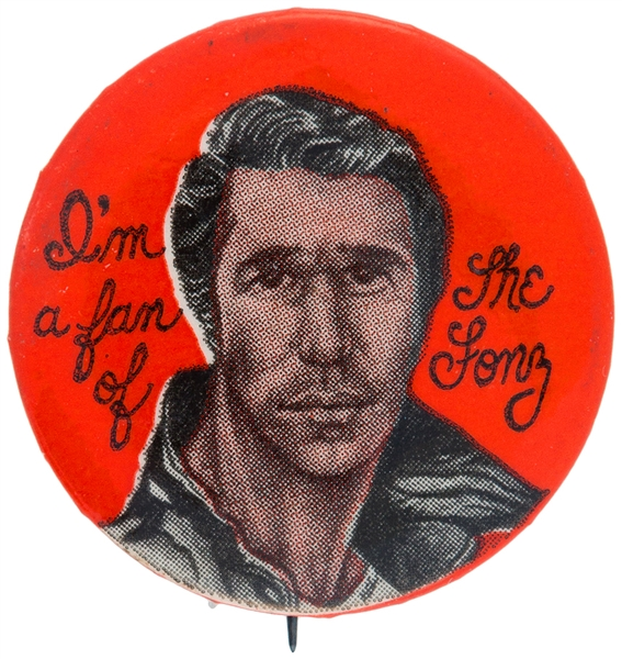 HAPPY DAYS I'M A FAN OF THE FONZ BUTTON.