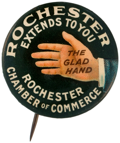 OUTSTANDING GRAPHICS ON CIRCA 1910 ROCHESTER CITY PROMO BUTTON.