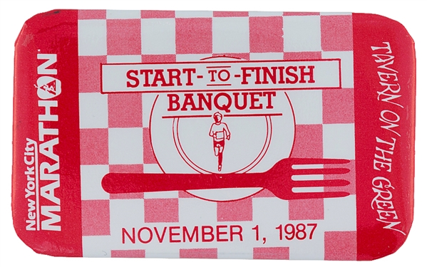 NYC 1987 MARATHON START TO FINISH BANQUET BUTTON.