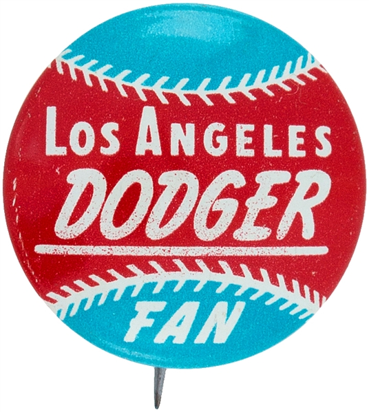 L.A. DODGERS FROM 1960s BASEBALL TEAM SET LITHO BUTTON.