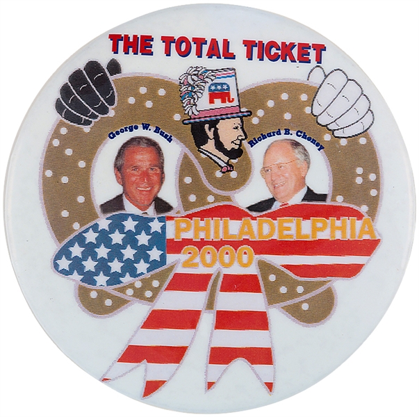 BUSH PRETZEL JUGATE SOLD ONLY AT GOP PHILA 2000 CONVENTION BUTTON.
