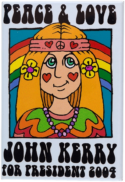 PEACE & LOVE JOHN KERRY FOR PRESIDENT 2004 BUTTON.