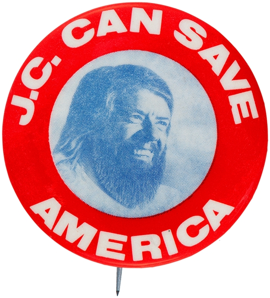 "JIMMY CARTER AS JESUS ""J.C. CAN SAVE AMERICA"" 1976 BUTTON."