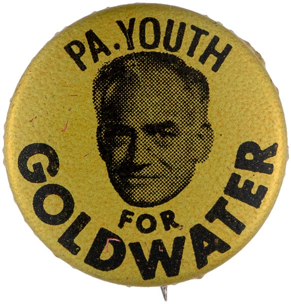 """PA. YOUTH FOR GOLDWATER"" LITHO BUTTON."