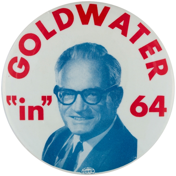 """GOLDWATER 'IN' 64"" LARGE 4"" BUTTON."