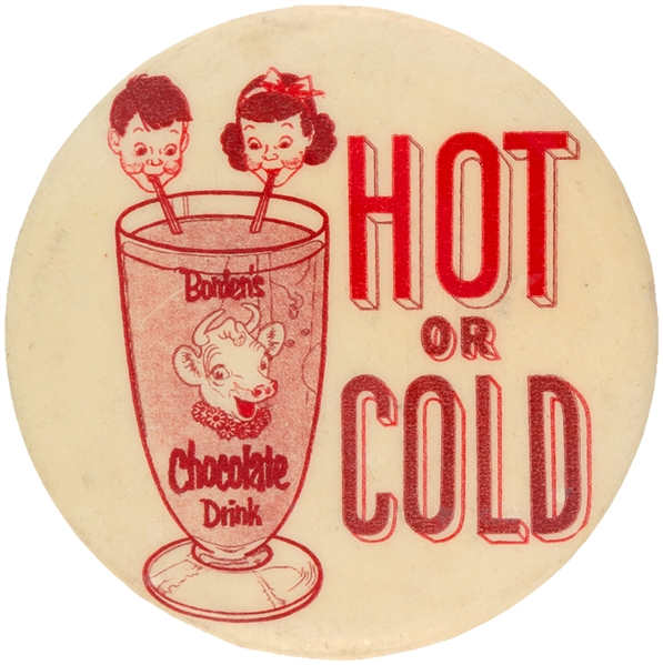 "ELSIE ""BORDEN'S CHOCOLATE DRINK / HOT OR COLD"" CIRCA 1950 BUTTON BY EMRESS, NYC."
