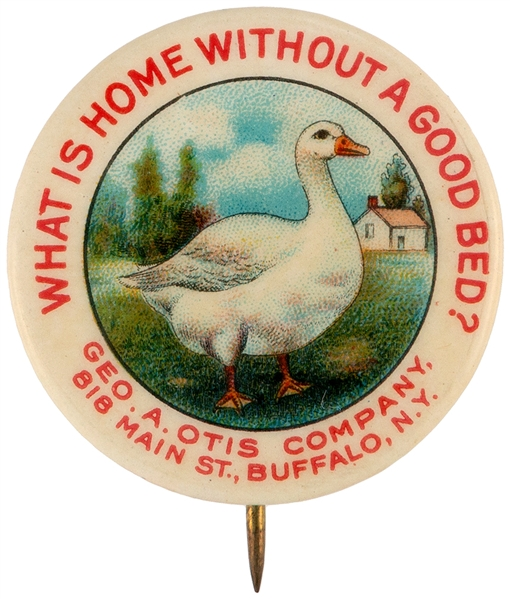 BUFFALO N.Y. OTIS BEDDING CO. CLASSIC MULTICOLOR GOOSE GRAPHIC ADVERTISING BUTTON.