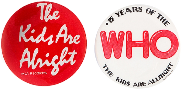 THE WHO PAIR OF 1979 ROCK BAND BUTTONS.