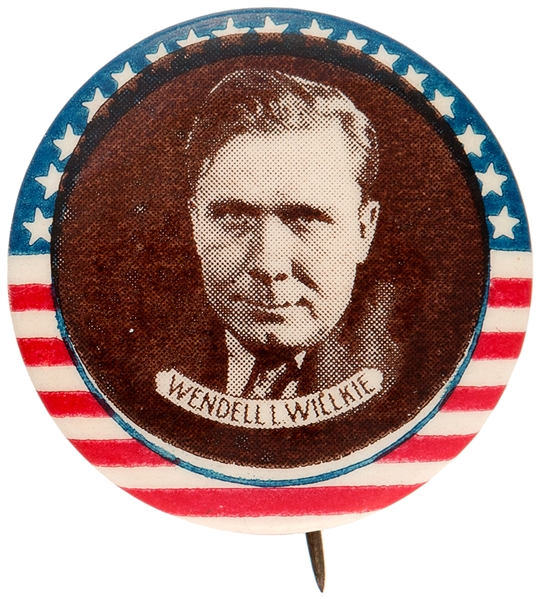 """WENDELL WILLKIE"" 1940 PATRIOTIC BORDER PORTRAIT BUTTON."