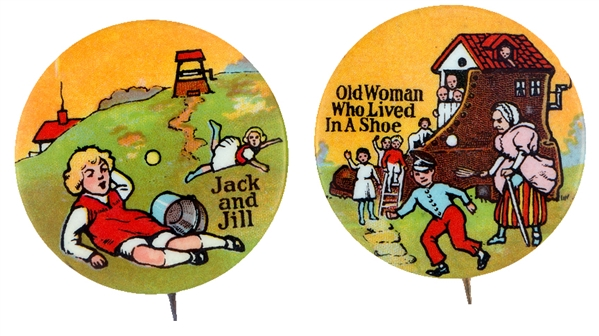 NURSERY RHYME 1930s PICTORIAL BUTTON PAIR WITH BEAUTIFUL COLOR AND TITLES.