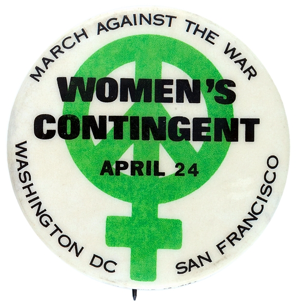 WOMEN'S CONTINGENT VIETNAM WAR PROTEST BUTTON.