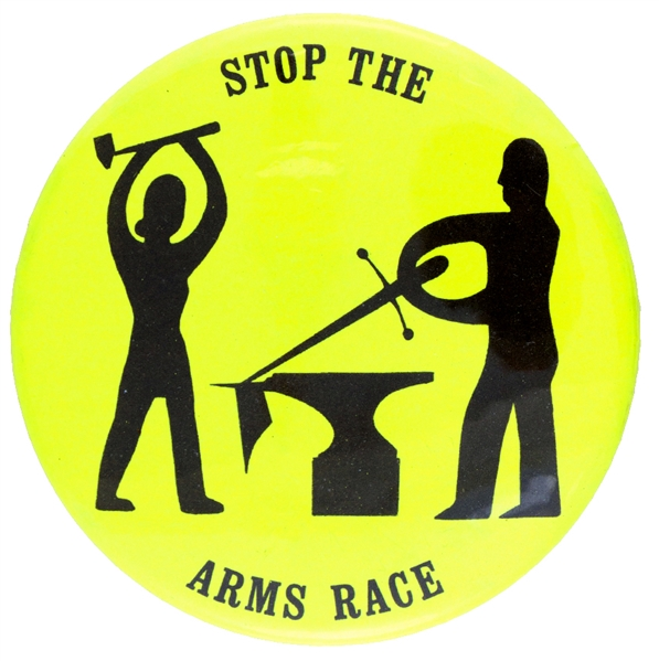 STOP THE ARMS RACE ANTI NUCLEAR BUTTON.